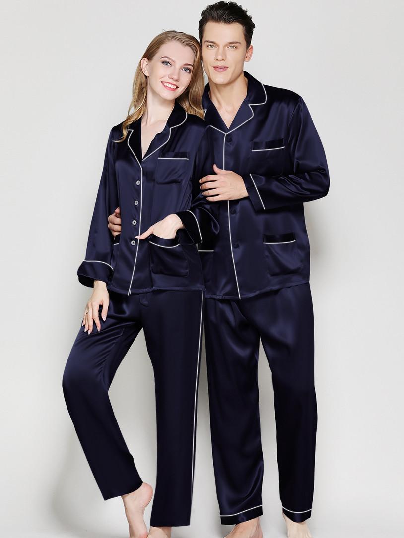 Пижамы парные фемели лук шелковые синие он и она (40-52 XS-XXL)