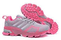 Женские кроссовки Adidas Marathon Flyknit pink-grey