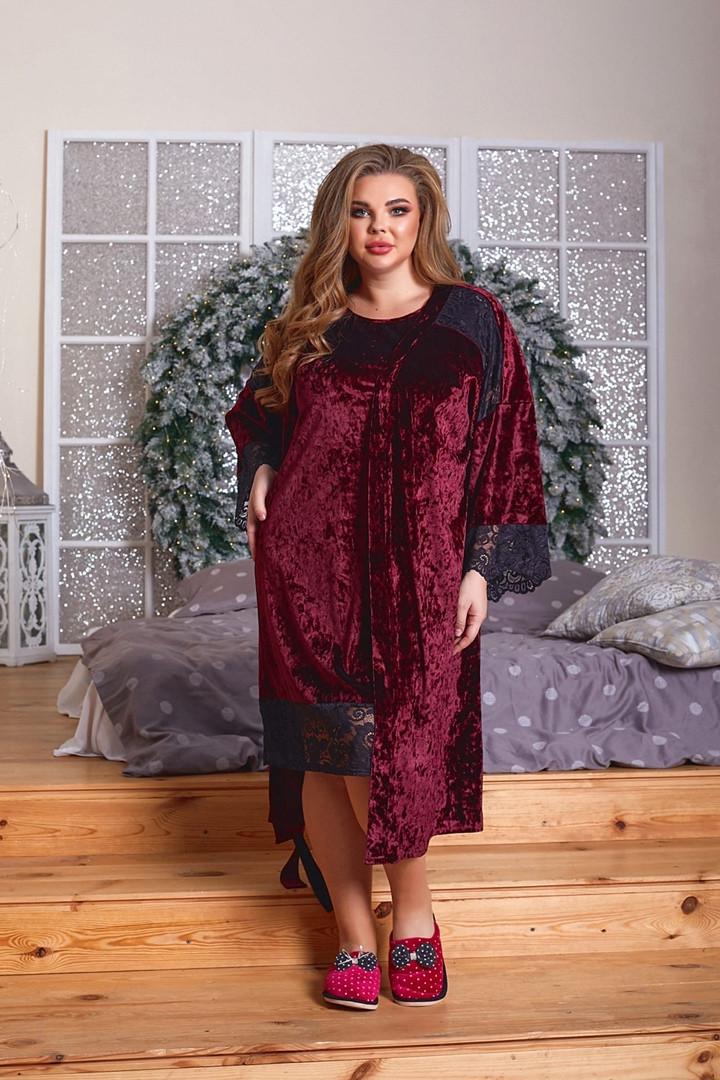 Молодёжный комплект для дома и сна=сорочка и халат   из велюра с 52 по 66 размер
