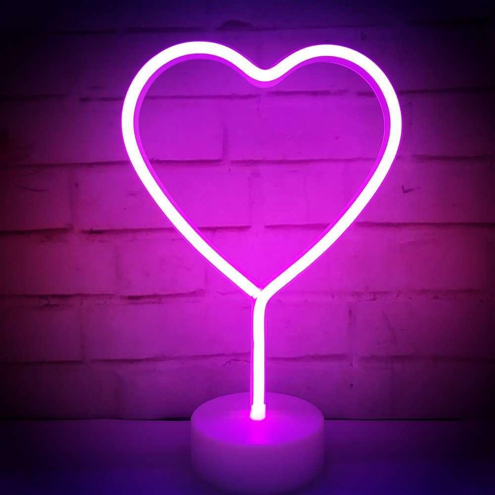 Ночник неоновый лампа Сердце Pink 8 режимов