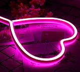 Ночник неоновый лампа Сердце Pink 8 режимов, фото 4