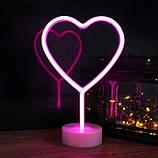 Ночник неоновый лампа Сердце Pink 8 режимов, фото 5