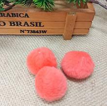 Помпончікі для брелока, 3,5 см , еко-хутро, колір кораловий, 1 шт.