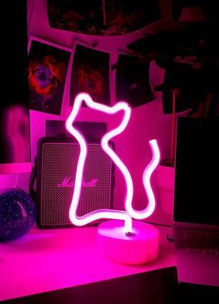 Ночник неоновый лампа Кошка