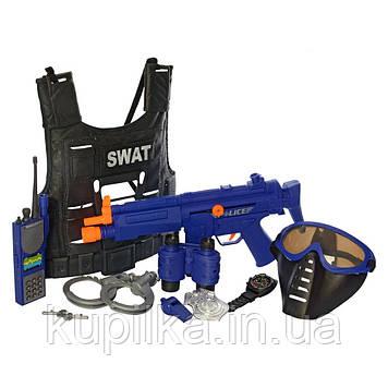 Игровой набор полицейского со звуком и светом LimoToy 34290 с бронежилетом, автоматом, рацией и наручниками