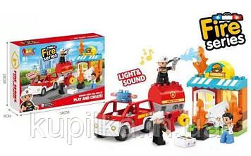 """Детский конструктор """"Пожарная служба"""" JDLT 5420 с звуковими и световыми эффектами (32 элемента)"""