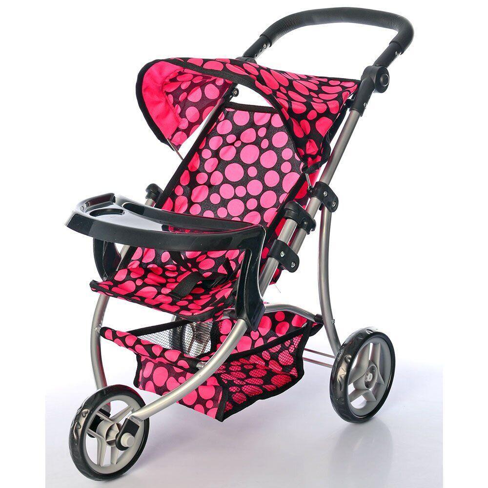 Детская игрушечная коляска для кукол Melogo 9377 B-T Розовые круги