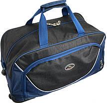 Сумка дорожная спортивная на колесах 57L Wallaby 10428 черный с синим, фото 2