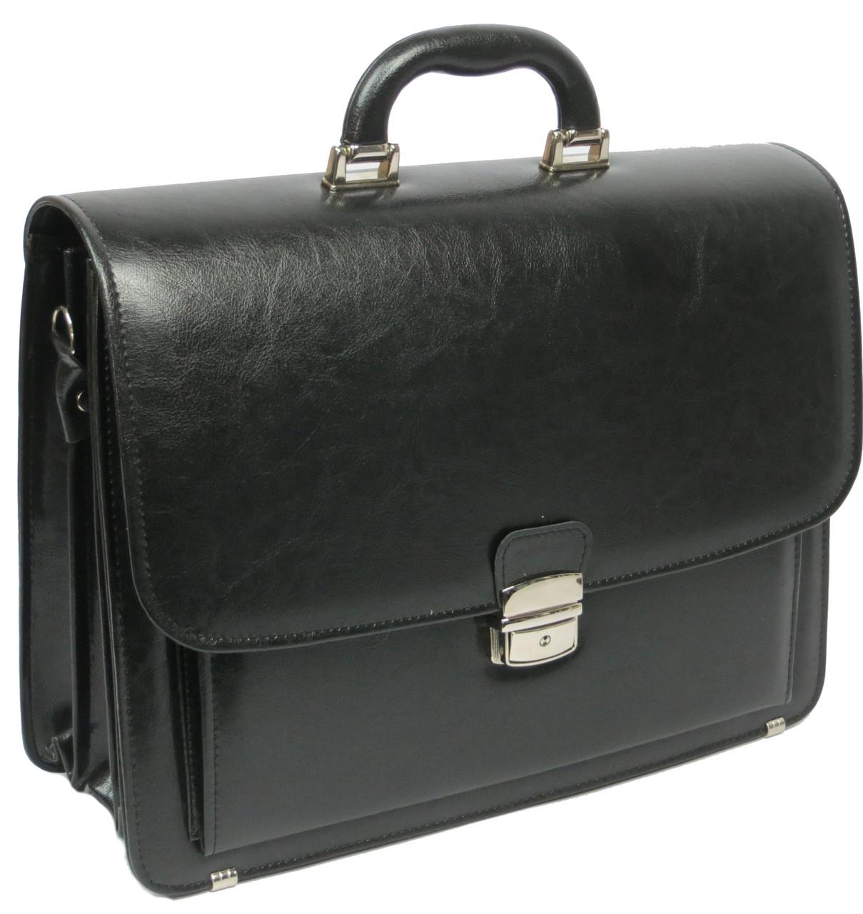 Мужской портфель из эко кожи Jurom Польша чёрный