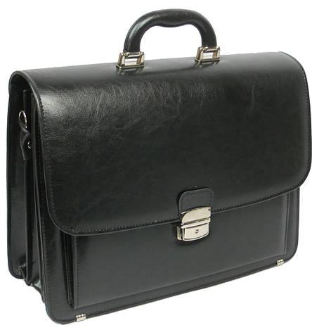 Мужской портфель из эко кожи Jurom Польша чёрный, фото 2