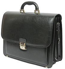 Мужской портфель из эко кожи Jurom Польша чёрный, фото 3