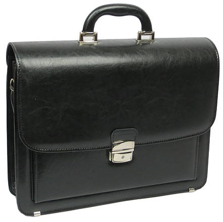Мужской портфель из эко кожи Jurom Польша 0-33/2-111 чёрный, фото 2