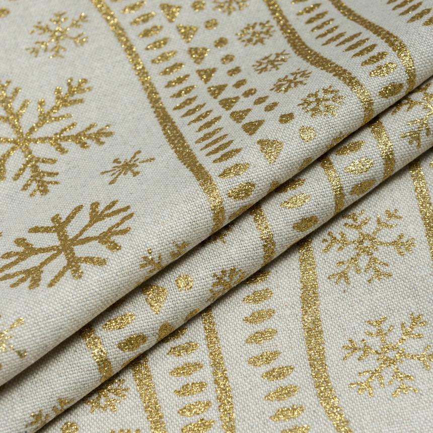 Декоративная новогодняя ткань Снежинки в полосу золотистый