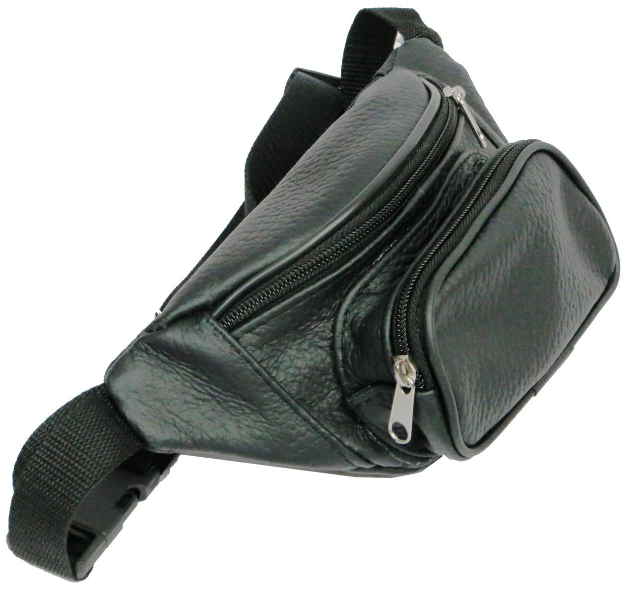 Поясная сумка из натуральной кожи Kangur Maly 41395 чёрный