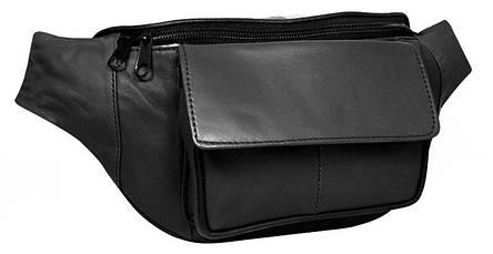 Поясная сумка из кожи Cavaldi 902-353 черная, фото 2