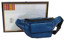 Поясная сумка, бананка из кожи Cavaldi 902-353 синяя, фото 3