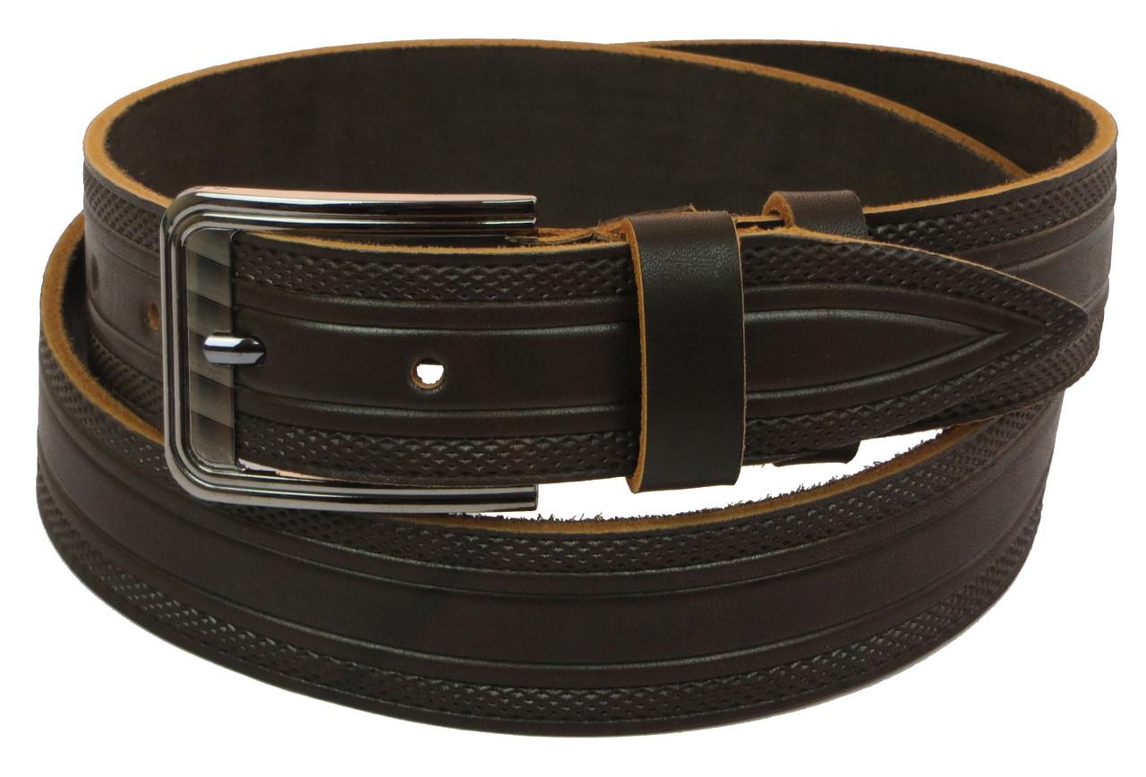 Мужской кожаный ремень под джинсы Skipper 1012-38 коричневый ДхШ: 128х3,8 см.