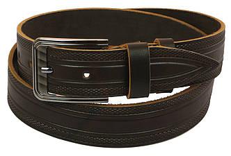 Мужской кожаный ремень под джинсы Skipper 1012-38 коричневый ДхШ: 128х3,8 см., фото 2