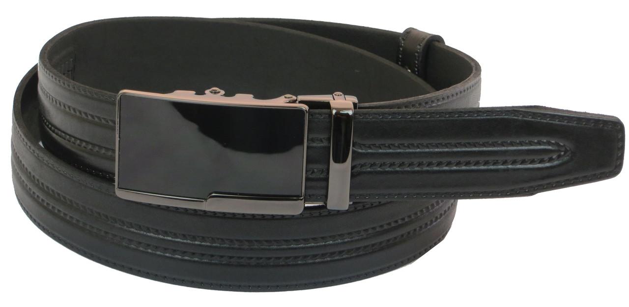 Мужской кожаный ремень под брюки Skipper 1005-35 черный ДхШ: 126х3,5 см.