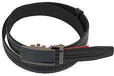 Мужской кожаный ремень под брюки Skipper 1005-35 черный ДхШ: 126х3,5 см., фото 2