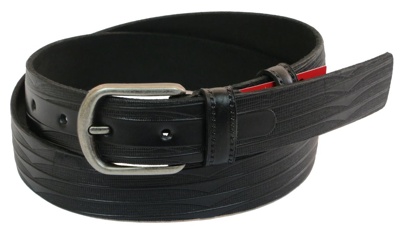 Мужской кожаный ремень под брюки Skipper 1028-33 черный ДхШ: 128х3,3 см.