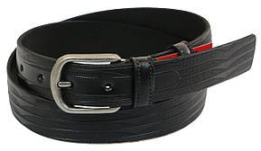 Мужской кожаный ремень под брюки Skipper 1028-33 черный ДхШ: 128х3,3 см., фото 2