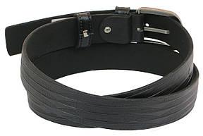 Мужской кожаный ремень под брюки Skipper 1028-33 черный ДхШ: 128х3,3 см., фото 3