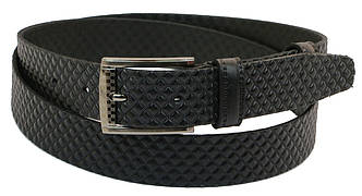 Мужской кожаный ремень под брюки Skipper 1035-35 черный ДхШ: 133х3,5 см., фото 2
