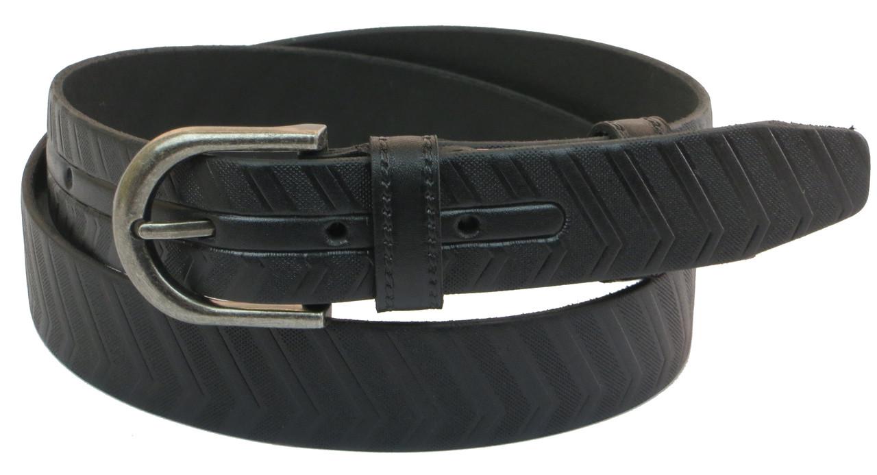 Мужской кожаный ремень под брюки Skipper 1030-33 черный ДхШ: 122х3,3 см.