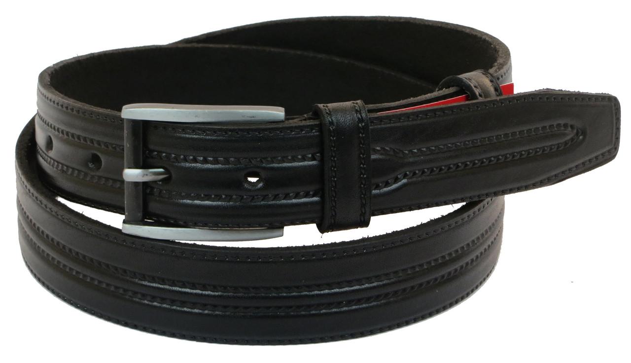 Мужской кожаный ремень под брюки Skipper 1038-35 черный ДхШ: 125х3,5 см.