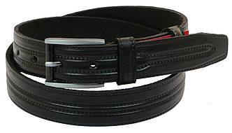Мужской кожаный ремень под брюки Skipper 1038-35 черный ДхШ: 125х3,5 см., фото 2