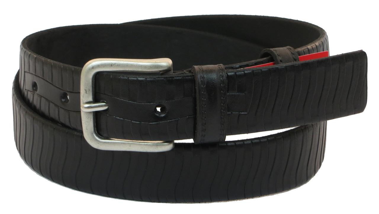 Мужской кожаный ремень под брюки Skipper 1040-35 черный ДхШ: 124х3,5 см.
