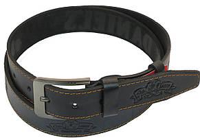 Мужской кожаный ремень под джинсы Skipper 1042-38 черный ДхШ: 128х3,8 см., фото 2