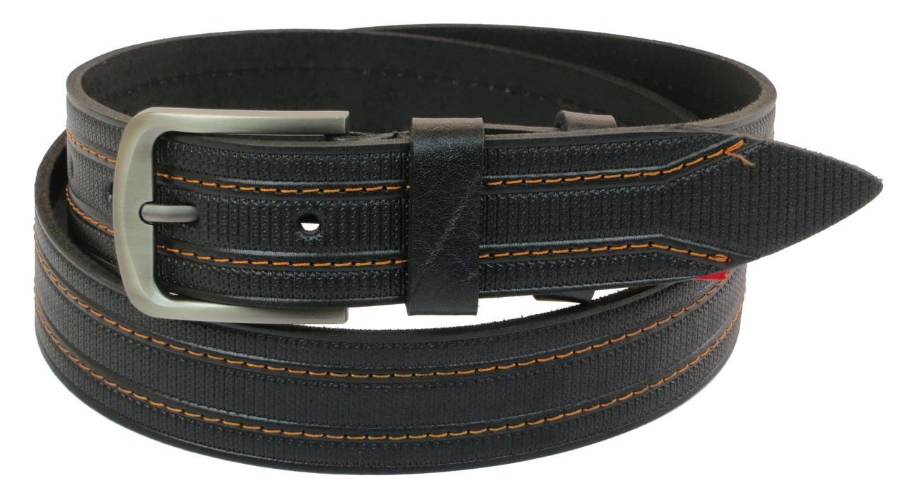 Мужской кожаный ремень под джинсы Skipper 1016-38 черный ДхШ: 125х3,8 см.