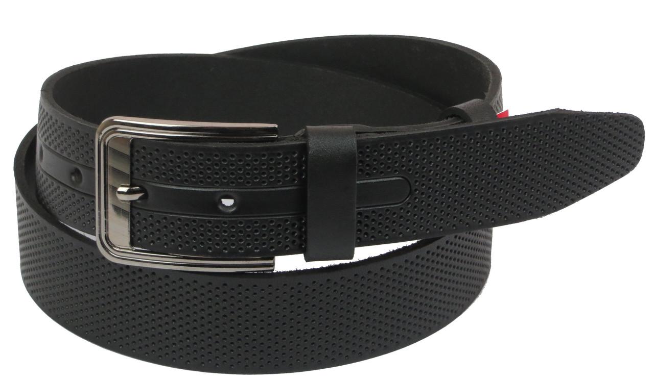 Мужской кожаный ремень под джинсы Skipper 1103-40 черный ДхШ: 124х4 см.