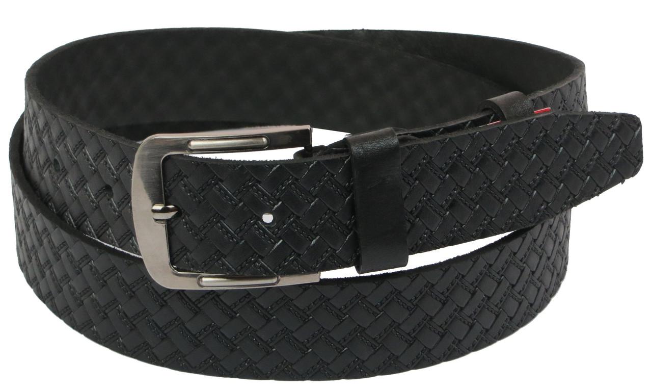 Мужской кожаный ремень под джинсы Skipper 1104-38 черный ДхШ: 140х3,8 см.