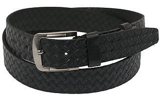 Мужской кожаный ремень под джинсы Skipper 1104-38 черный ДхШ: 140х3,8 см., фото 2