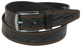 Мужской кожаный ремень под джинсы Skipper 1100-38 черный ДхШ: 1100х3,8 см., фото 2