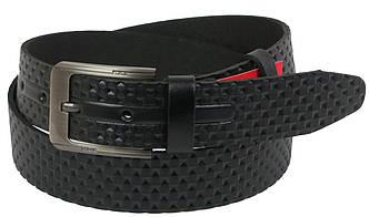 Мужской кожаный ремень под джинсы Skipper 1110-38 черный ДхШ: 126х3,8 см., фото 2