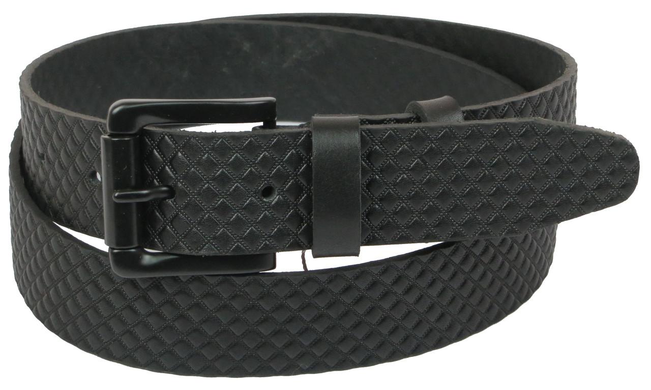Мужской кожаный ремень под джинсы Skipper 1064-40 черный ДхШ: 134х4 см.