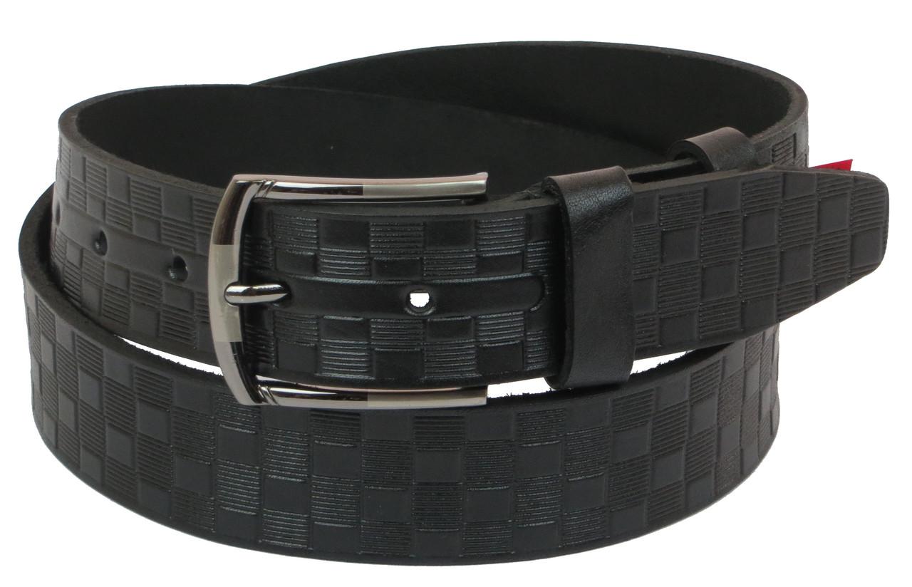 Мужской кожаный ремень под джинсы Skipper 1091-38 черный ДхШ: 124х3,8 см.