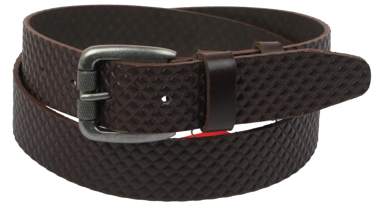 Мужской кожаный ремень под джинсы Skipper 1116-38 коричневый ДхШ: 131х3,8 см.