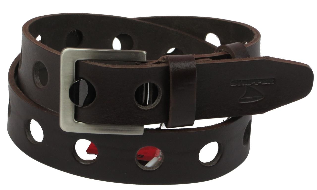 Мужской кожаный ремень под джинсы Skipper 1117-38 коричневый ДхШ: 113х3,8 см.
