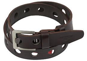 Мужской кожаный ремень под джинсы Skipper 1117-38 коричневый ДхШ: 113х3,8 см., фото 2