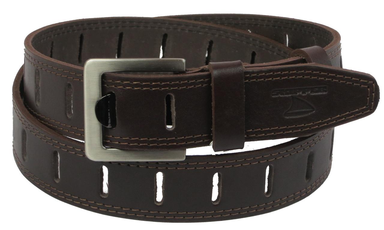Мужской кожаный ремень под джинсы Skipper 1109-38 коричневый ДхШ: 128х3,8 см.