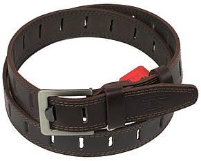 Мужской кожаный ремень под джинсы Skipper 1109-38 коричневый ДхШ: 128х3,8 см., фото 2