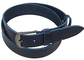 Мужской кожаный ремень под джинсы Skipper 1088-38 синий ДхШ: 127х3,8 см., фото 2