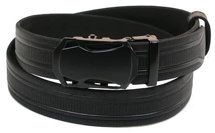Мужской кожаный ремень под брюки Skipper 1069-35 черный ДхШ: 121х3,5 см., фото 2