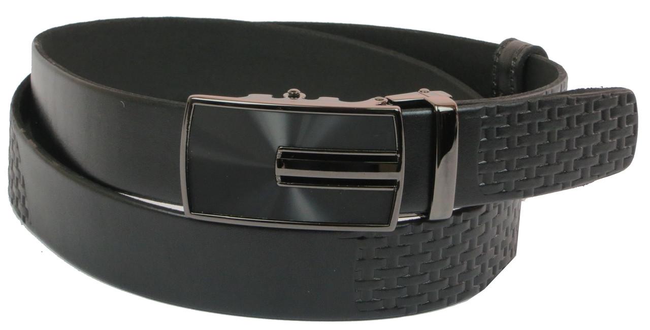 Мужской кожаный ремень под брюки Skipper 1075-35 черный ДхШ: 130х3,5 см.