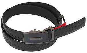 Мужской кожаный ремень под брюки Skipper 1090-35 черный ДхШ: 128х3,5 см., фото 2